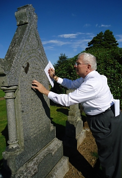 David at McBlain gravestone in Dailly, Scotland